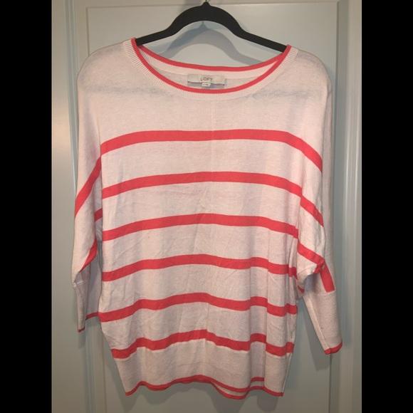 Ann Taylor Loft Orange/Peach Striped Sweater Sz M